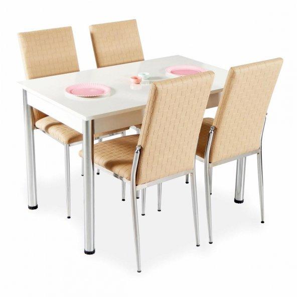 Evform Favorite 4 Kişilik Masa Sandalye Mutfak Masası Takımı - Ka