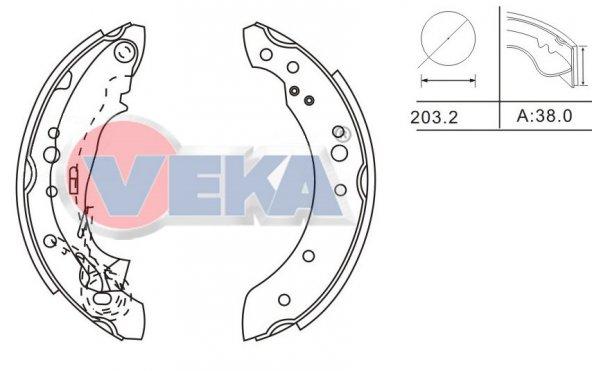 Arka Fren Balatası Pabuc Balata Renault Symbol II 1.5 Dci Yapıştırma Levyeli 203,2x38mm 08_12 Arası