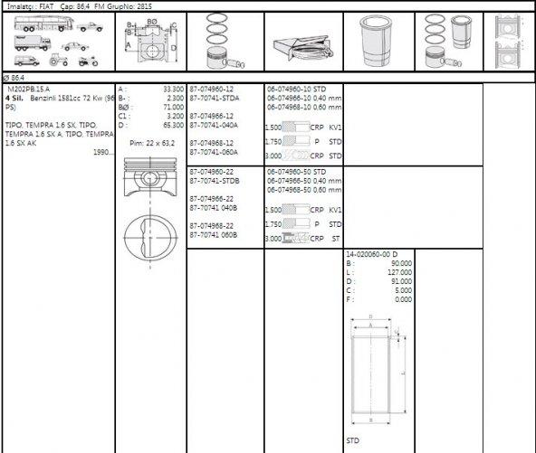 Motor Sekmanı 040 86,44 mm Fiat Tempra