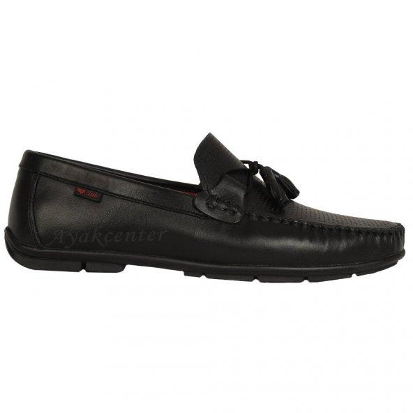 MP 191-7564 Siyah 100 Deri Yazlık Klasik Erkek Babet Ayakkabı