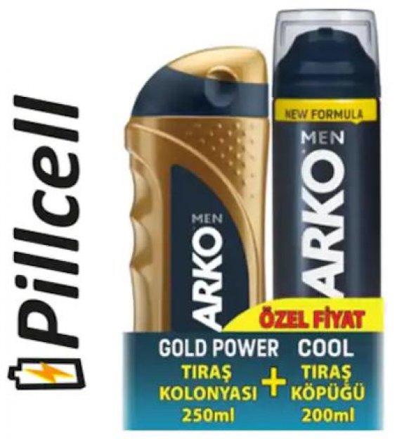 Arko Tıraş Kolonyası Gold Power 250 ml + Tıraş Köpüğü 200 ml Cool