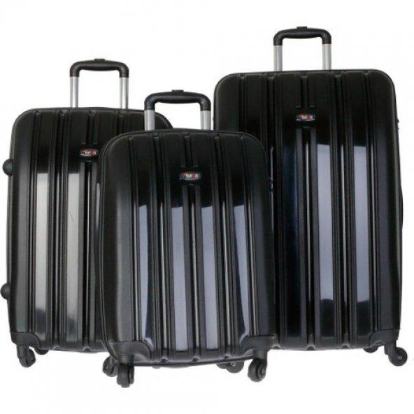 Tutqn Kırılmaz 3'lü Valiz Seti Siyah (Büyük+Orta+Kabin)