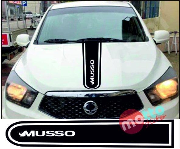 Ssangyong Musso Logolu Otomobil Ön Kaput Şeridi Kaput Sticker