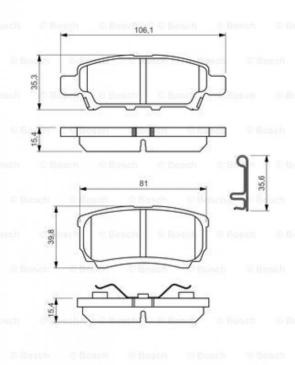 Chrysler Sebring 2.0 CRD 2006-2009 Bosch Arka Fren Balatası
