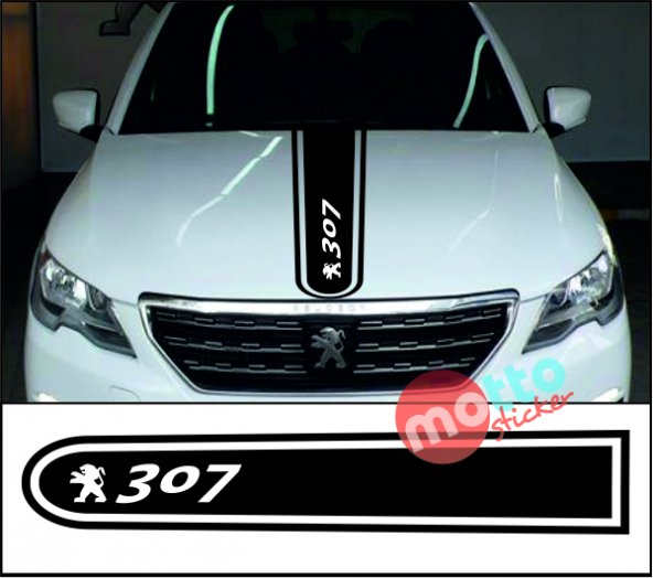 Peugeot 307 Logolu Otomobil Ön Kaput Şeridi Kaput Sticker