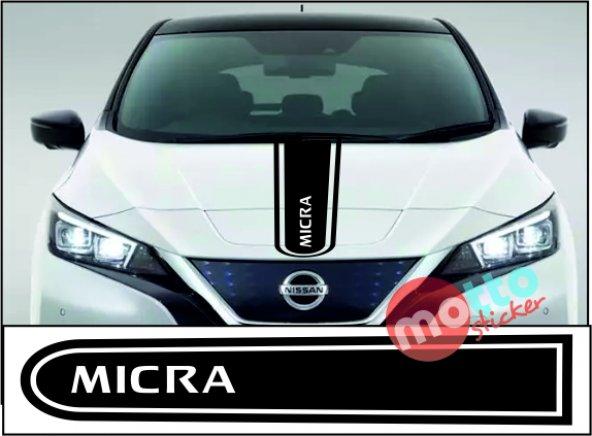 Nissan Micra Logolu Otomobil Ön Kaput Şeridi Kaput Sticker