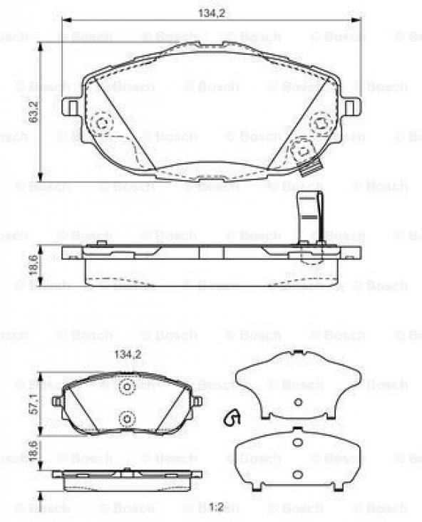 Toyota Corolla 1.3 2013-2018 Bosch Ön Fren Balatası
