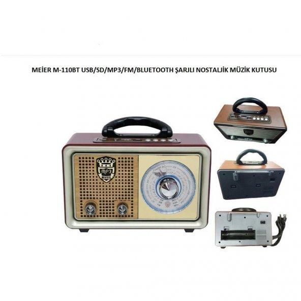 Nostaljik Retro Ahşap Görünüm Bluetooth Radyo Usb Sd Meier 110BT