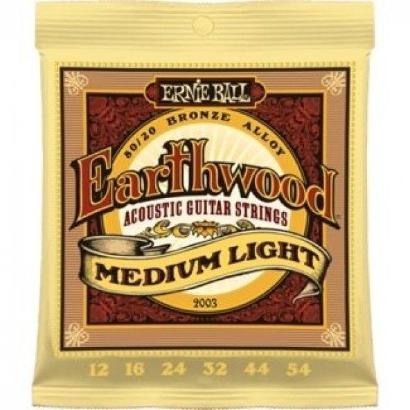Ernie Ball P02003 Earthwood Medium Light 80/20 Bronze 0.12 - 0.54 Akustik Gitar Teli