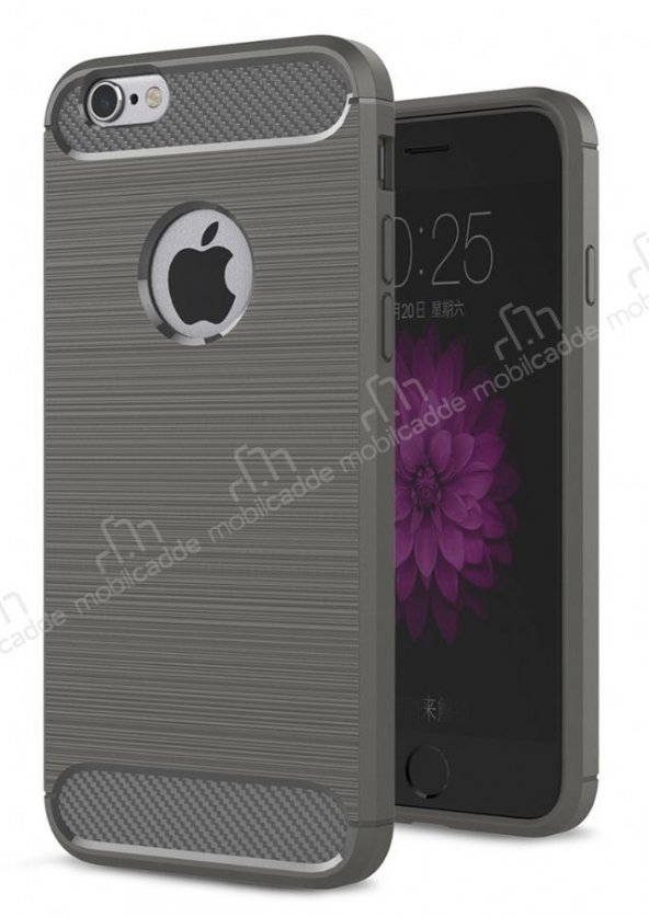 Eiroo Carbon Shield iPhone 6 / 6S Ultra Koruma Dark Silver Kılıf