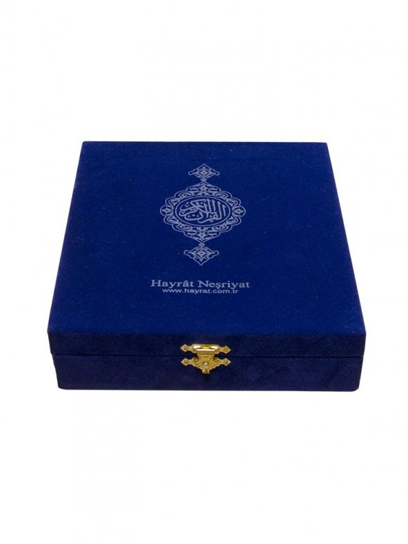Mavi Kadife Kutulu Çanta Boy Kuran-ı Kerim