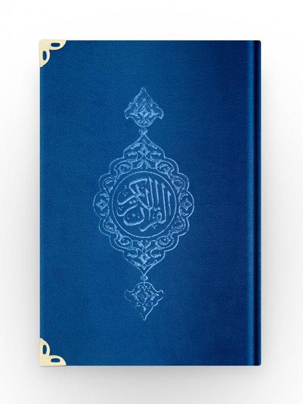 Orta Boy Kadife Kuran-ı Kerim (Lacivert, Yaldızlı, Mühürlü)
