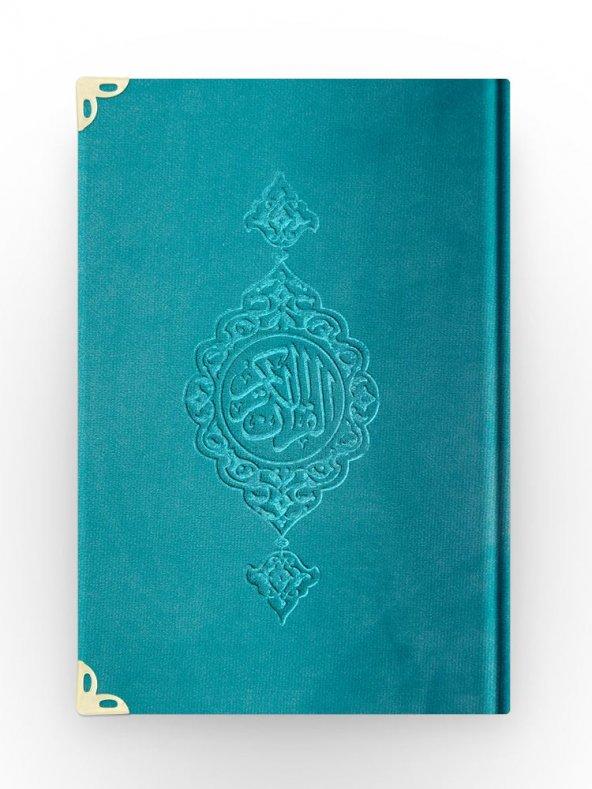 Orta Boy Kadife Kuran-ı Kerim (Turkuaz, Yaldızlı, Mühürlü)