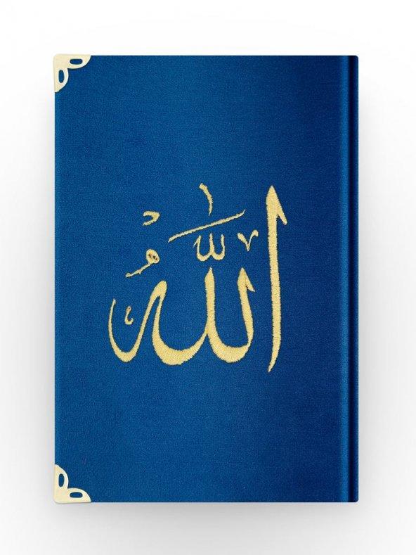 Çanta Boy Kadife Kuran-ı Kerim (Lacivert, Nakışlı, Yaldızlı, Mühürlü)