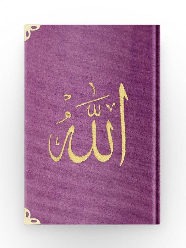 Çanta Boy Kadife Kuran-ı Kerim (Lila, Nakışlı, Yaldızlı, Mühürlü)