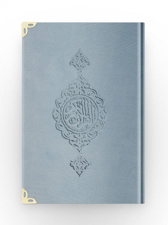 B.Cep Boy Kadife Kuran-ı Kerim (Mavi, Yaldızlı, Mühürlü)