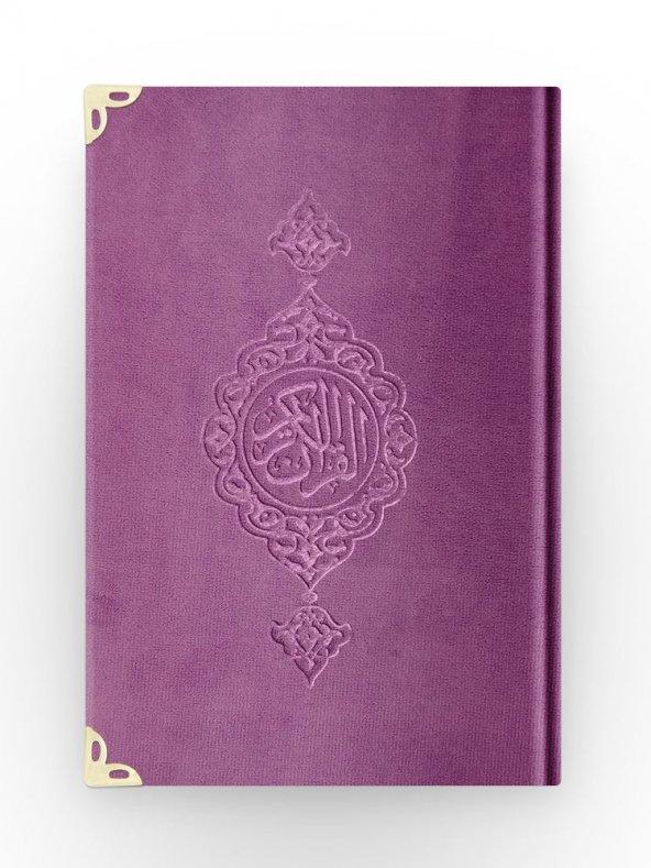 B.Cep Boy Kadife Kuran-ı Kerim (Lila, Yaldızlı, Mühürlü)