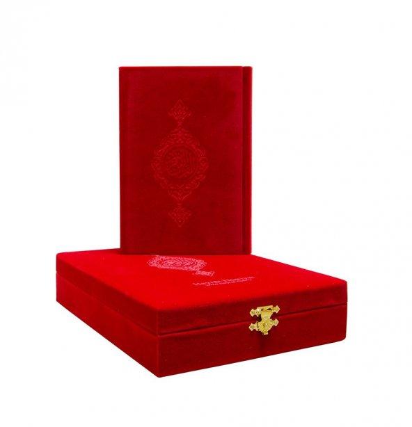 Kırmızı Kadife Kutulu Hafız Boy Kuran-ı Kerim