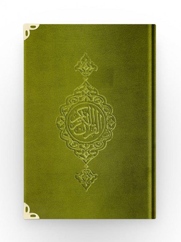 Hafız Boy Kadife Kuran-ı Kerim (Yeşil, Yaldızlı, Mühürlü) Kadife Kuranı Kerim