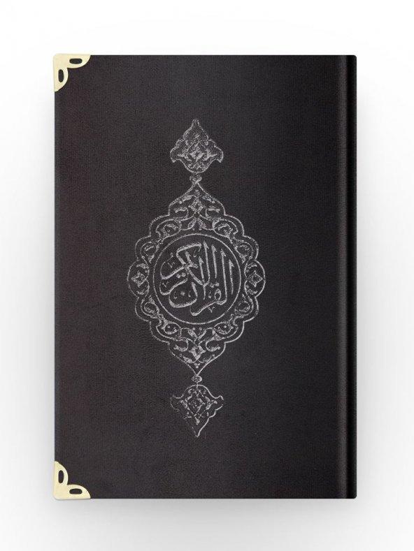 Hafız Boy Kadife Kuran-ı Kerim (Siyah, Yaldızlı, Mühürlü) Kadife Kuranı kerim