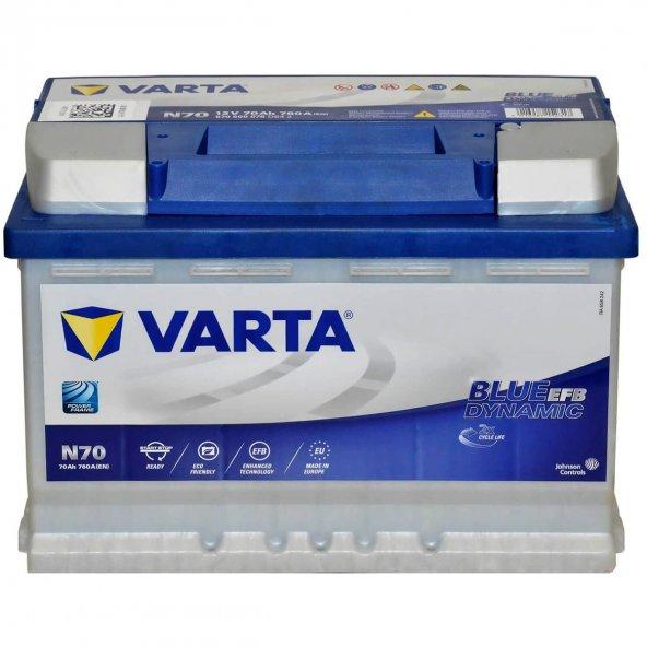 Varta Blue Dynamic EFB N70 12 Volt 70 Amper Start Stop Akü