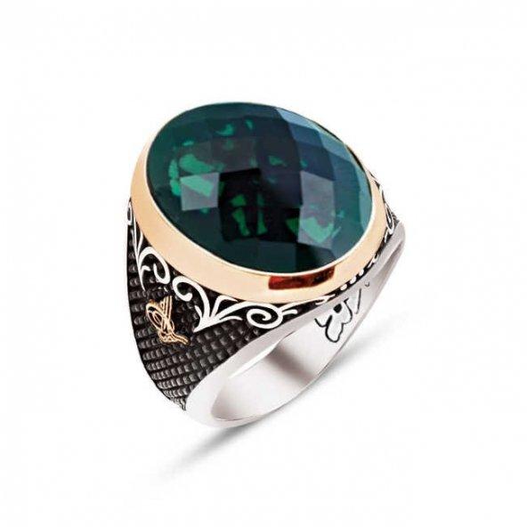 Gümüş Özel Kesim Fasetli Yeşil Zirkon Taş Kenarları Osmanlı Tuğralı İşlemeli Yüzük