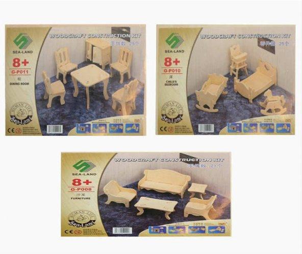 Eğitici Oyuncak Ahşap Ev Mobilya Seti 3 Lü Oyuncak Maket Mobilya-Minyatür Boyanabilir Ev Mobilyaları