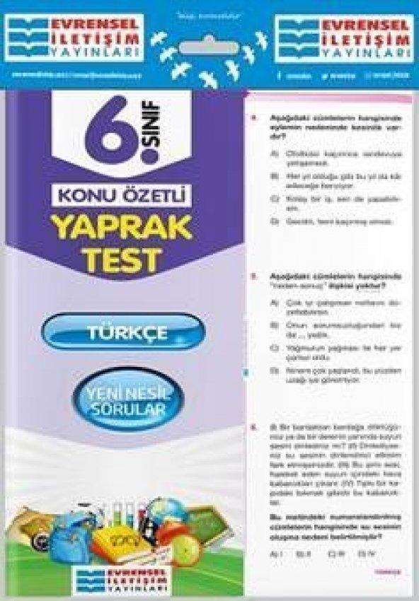 Evrensel İletişim Yayınları 6. Sınıf Türkçe Konu Özetli Yaprak Test
