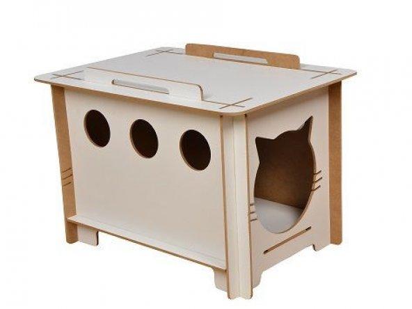 Ahşap Kedi Evi Yatağı Kulübesi Yuvası Evcil Hayvan Kedi Köpek Evi Yuvası Kutusu Barınağı Kafesi