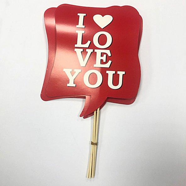 I Love You Temalı Konuşma Balonu 5li Paket