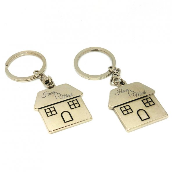 Çiftlere Özel Anahtarlık 2 Adet İsim Kazımalı Anahtarlık