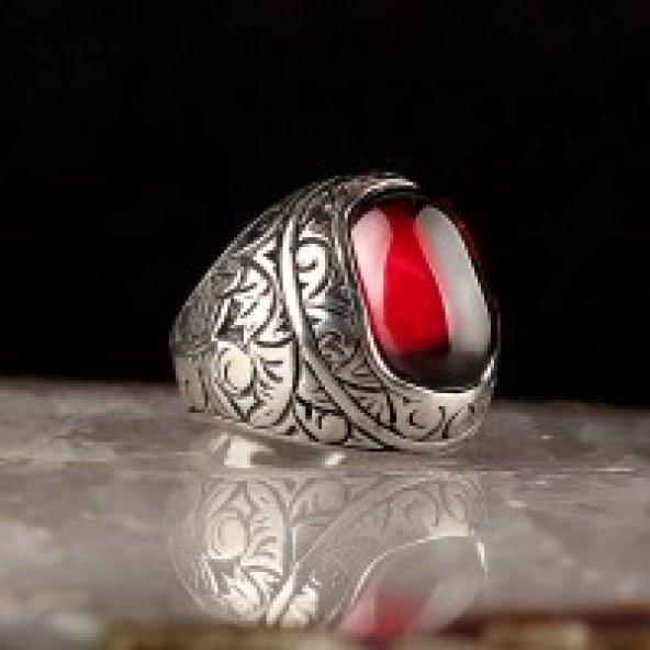 Zirkon Taşlı Kalem İşleme 925 Ayar Gümüş Yüzük
