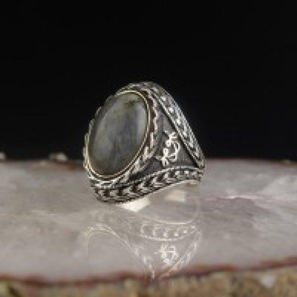Akik Taşlı Vav Harfli 925 Ayar Gümüş Yüzük