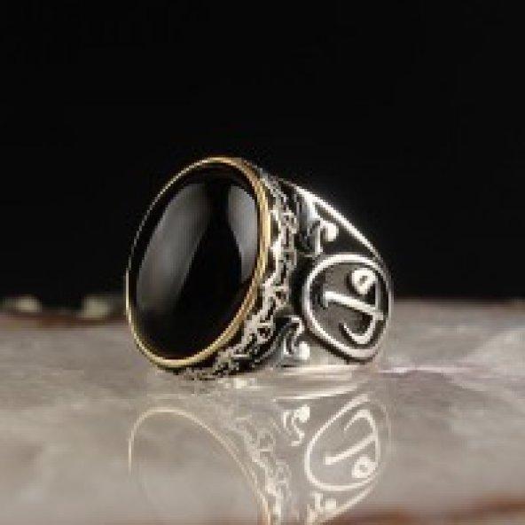Oniks Taşlı Elif Vav Harfli 925 Ayar Gümüş Yüzük