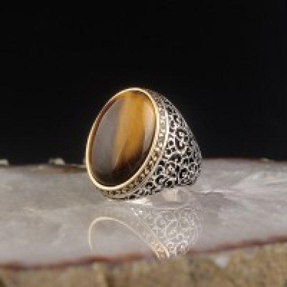 Kaplangözü Taşlı 925 Ayar Telkari Model Gümüş Yüzük