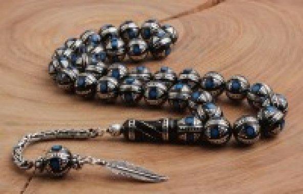 Gümüş Ve Firuze İşlemeli Büyük Boy Oltu Taşı Tesbih