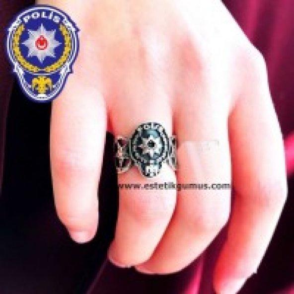 Polis Armalı Kenarı Ay Yıldız Desenli Gümüş Bay Bayan Yüzük