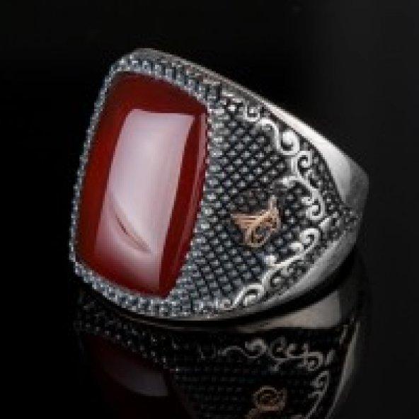 Kırmızı Akik Doğal Taşlı Tuğra Süslemeli Gümüş Erkek Yüzük