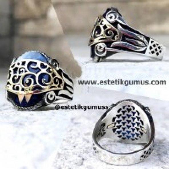 Zirkon Taş Üzeri Altın Sarmaşık İşlemeli Gümüş Erkek Yüzük