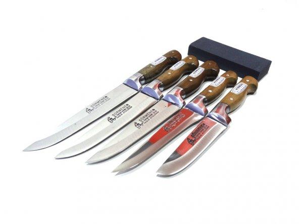 Mutfak Bıçak Seti 5'li Sürmene Bilezikli Soğuk Mühür Orijinal