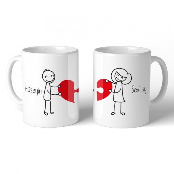 FPM1197 Sevgiliye Özel Birleşen Kalpler Hediye Kupa Bardak