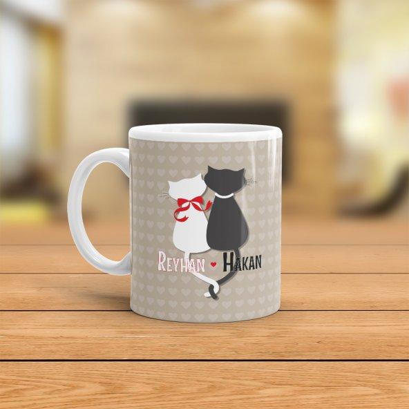 FPM1188 Sevgiliye Özel Aşık Kediler Hediye Kupa Bardak