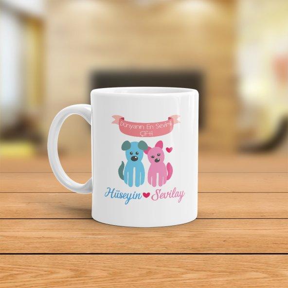 FPM1168 Sevgiliye Özel Dünyanın En Sevimli Çifti Kupa Bardak