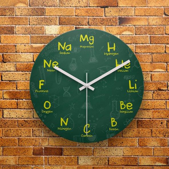 FMC1412 Kimya Öğretmenine Hediye MDF AHŞAP Duvar Saati 39cm