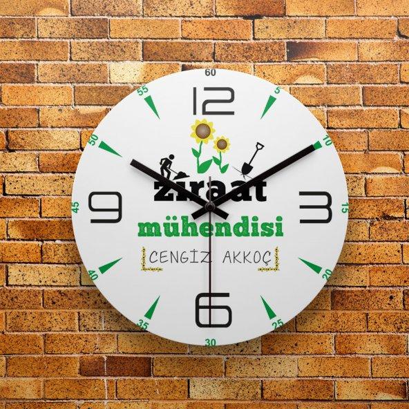 FMC1409 Ziraat Mühendisine Özel MDF AHŞAP Duvar Saati 39cm