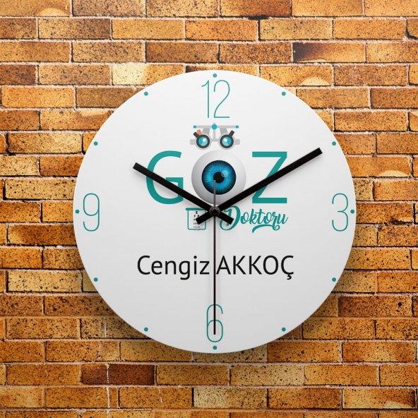 FMC1312 Göz Doktoruna Hediye MDF AHŞAP Duvar Saati 39cm