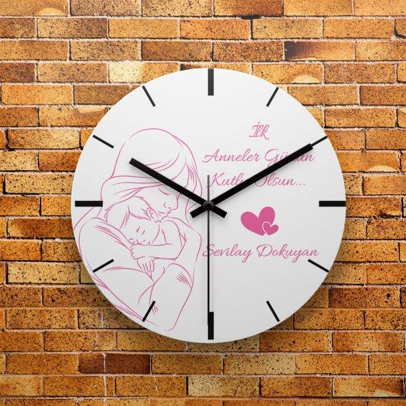 FMC1279 Anneler Gününe Özel Hediye MDF Duvar Saati 39cm