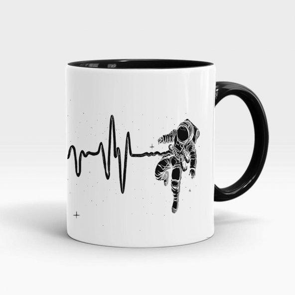 İkiz Astronot baskılı içi ve kulpu renkli porselen kupa