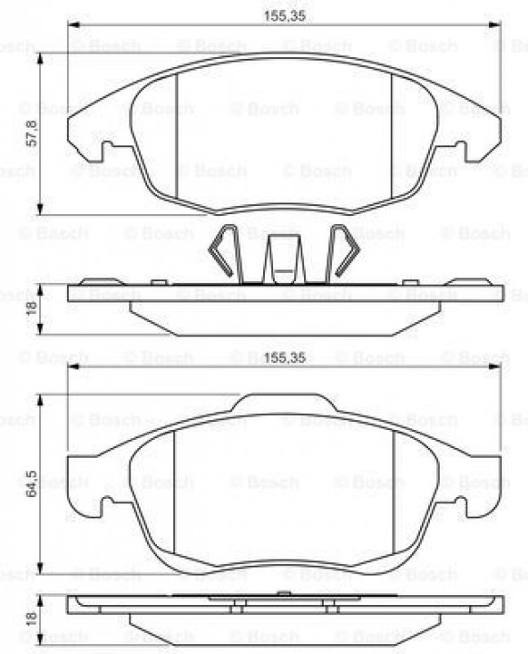 Citroen C4 1.2 2014-2015 Bosch Ön Fren Balatası