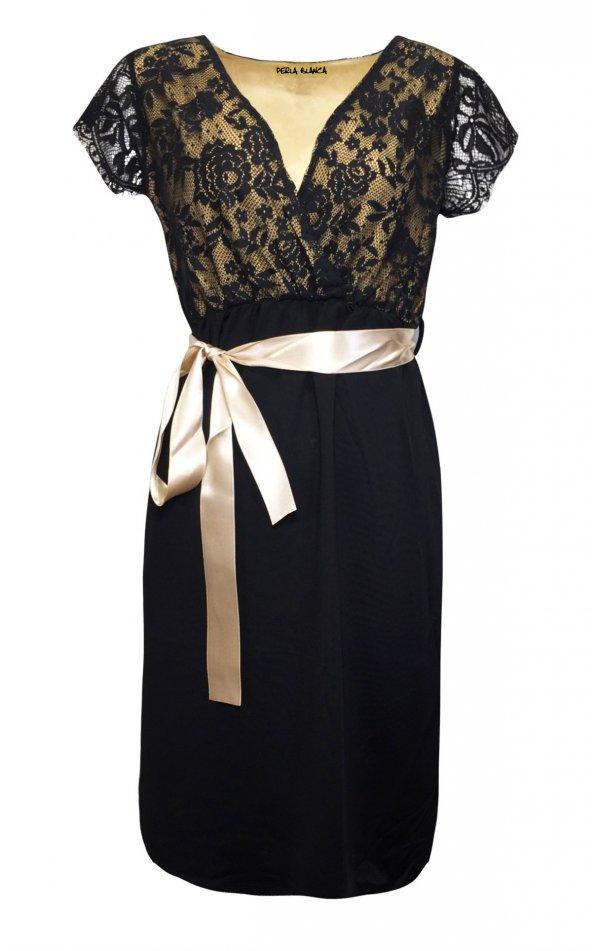 Janset Moda PB-AA7017 Dantelli Hamile Bayan Elbise
